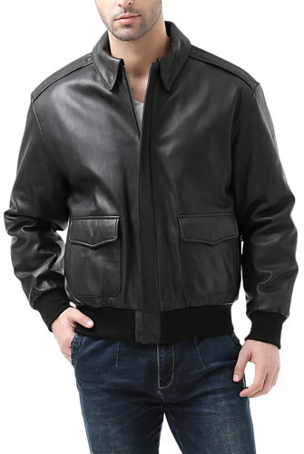 Landing Leathers Mens Premium Air Force A-2 Goatskin Leather Flight Bomber Jacket - Big