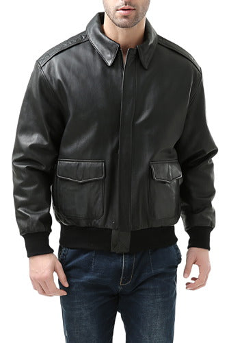 Landing Leathers Mens Premium Air Force A-2 Goatskin Leather Flight Bomber Jacket - Big & Tall