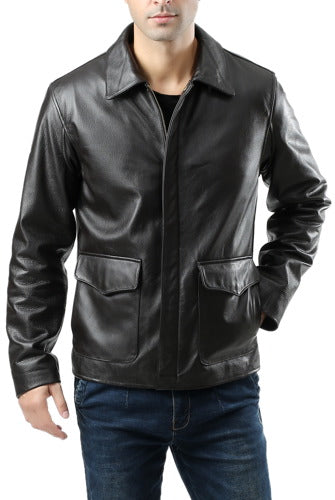 Landing Leathers Men's Voyager Indy-Style Goatskin Leather Adventurer Jacket - Tall