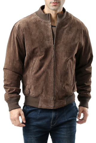 Landing Leathers Men's WWII Suede Leather Tanker Jacket - Tall