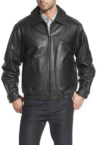 "BGSD Men's ""Aaron"" Classic Zip-Front Cowhide Leather Bomber Jacket - Big"