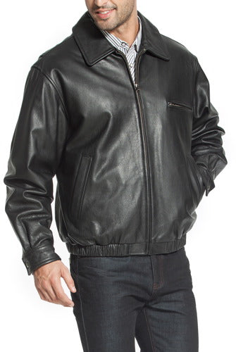 "BGSD Men's ""Aaron"" Classic Zip-Front Cowhide Leather Bomber Jacket - Tall"