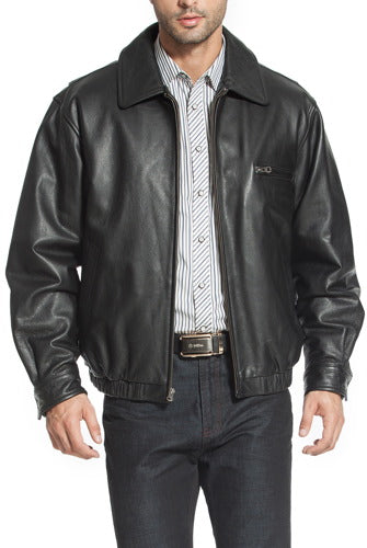 "BGSD Men's ""Aaron"" Classic Zip-Front Cowhide Leather Bomber Jacket - Big & Tall"