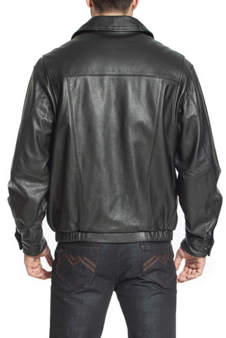 "BGSD Men's ""Aaron"" Classic Cowhide Leather Bomber Jacket - Big & Tall"