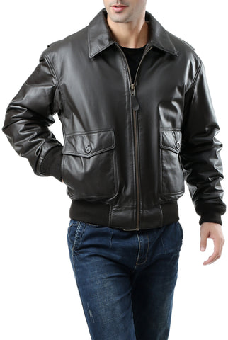 Landing Leathers Men's G2 Leather Flight Bomber Jacket (G-2) - Tall