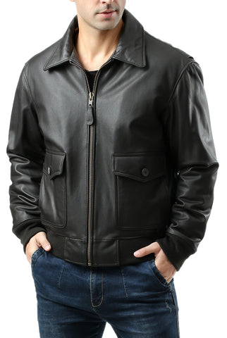 Landing Leathers Men's G2 Goatskin Leather Flight Bomber Jacket (G-2)