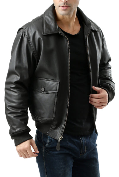 Landing Leathers Men's G2 Goatskin Leather Flight Bomber Jacket (G-2) - Tall