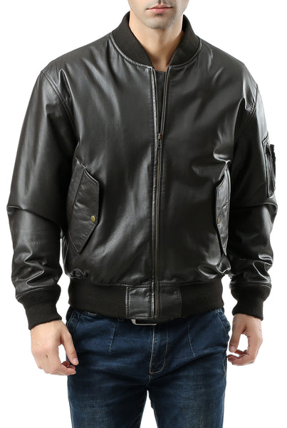 Landing Leathers Men's MA1 Leather Flight Bomber Jacket - Tall