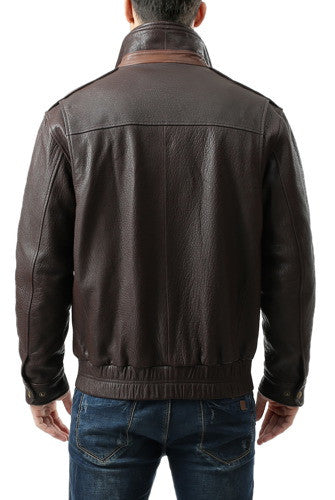 "BGSD Men's ""Brandon"" New Zealand Lambskin Leather  Bomber Jacket"