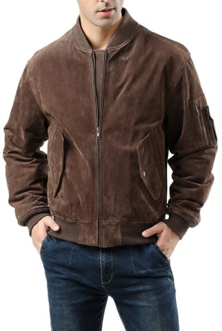 Landing Leathers Men's MA1 Suede Leather Flight Bomber Jacket - Big