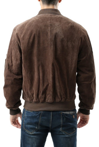 Landing Leathers Men's MA1 Suede Leather Flight Bomber Jacket - Big & Tall