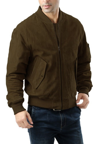 Landing Leathers Men's MA1 Suede Leather Flight Bomber Jacket