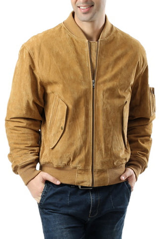 Landing Leathers Men's MA1 Suede Leather Flight Bomber Jacket - Tall
