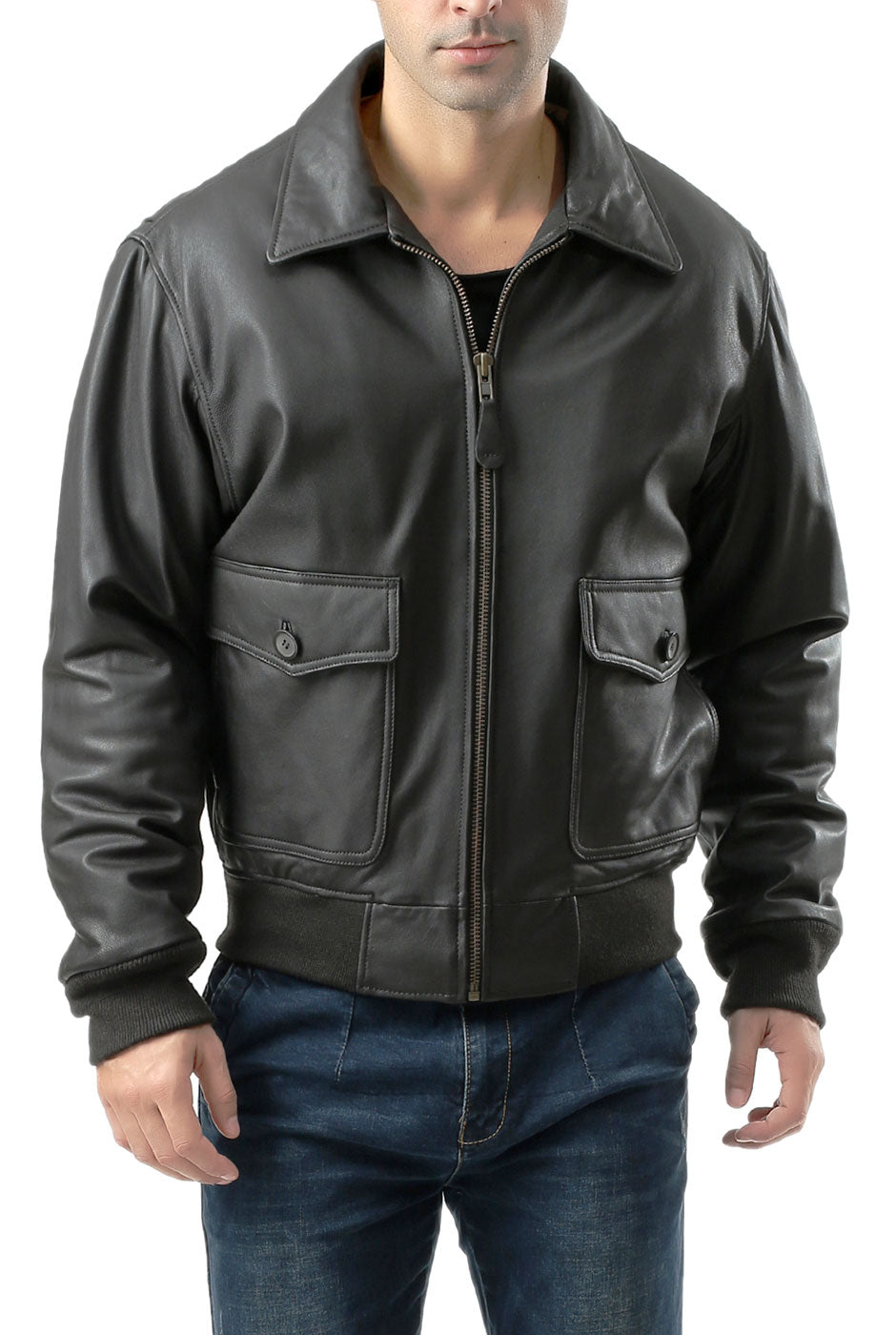 Landing Leathers Men's Premium Air Force G-2 Leather Flight Bomber Jacket - Tall