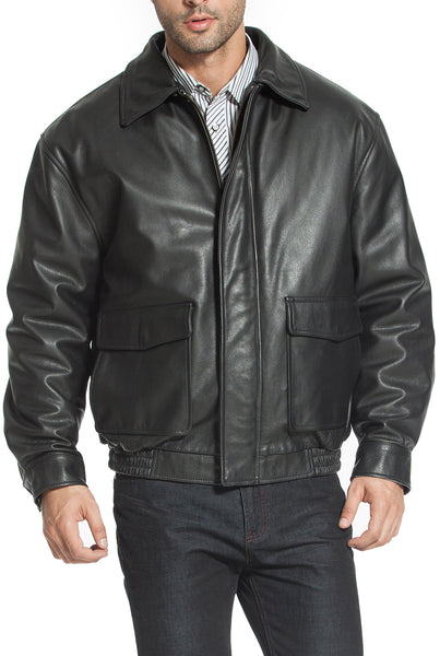 Landing Leathers Men's Heavy Duty Cowhide Leather Aviator Flight Bomber Jacket - Tall