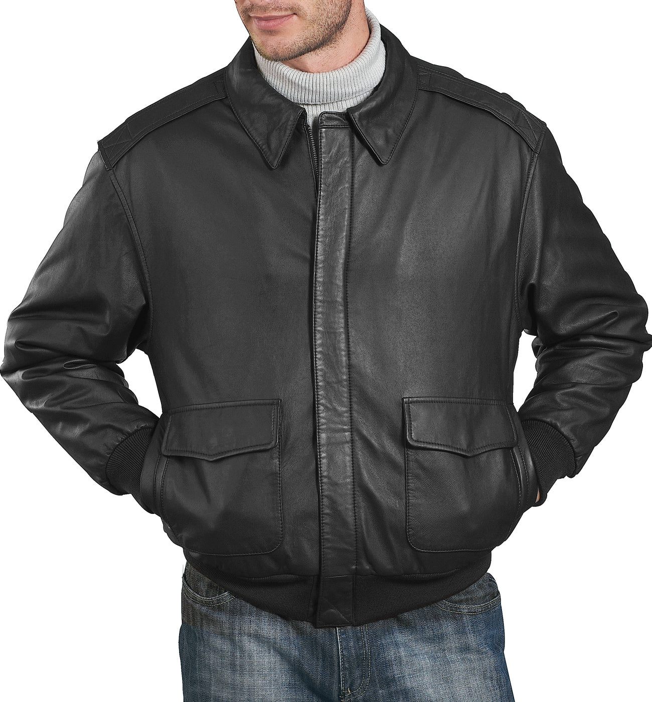 Landing Leathers Air Force Men's A2 Goatskin Leather Flight Bomber Jacket (A-2) - Big & Tall