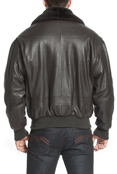 Landing Leathers Navy Men's G-1 Goatskin Leather Flight Bomber Jacket - Tall