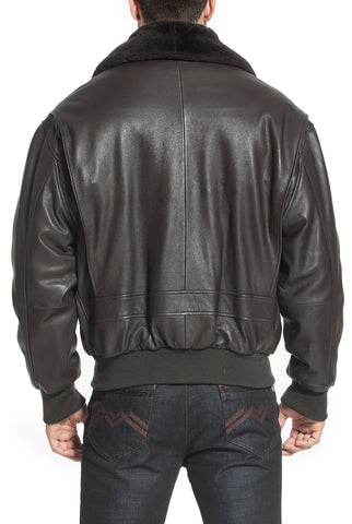 Landing Leathers Navy Men's G1 Goatskin Leather Flight Bomber Jacket (G-1) - Tall