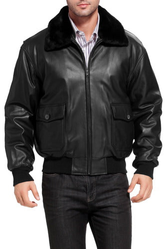 Landing Leathers Men's Premium Navy G-1 Goatskin Leather Flight Bomber Jacket (G1) - Short