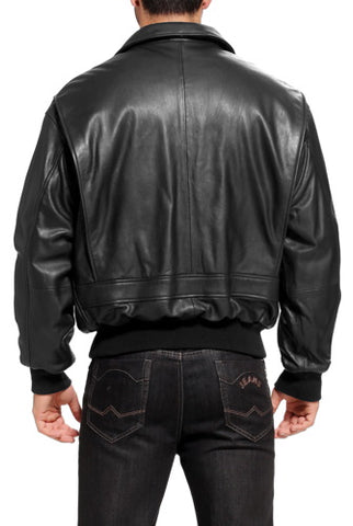 Landing Leathers Men's Premium Navy G-1 Goatskin Leather Flight Bomber Jacket - Tall