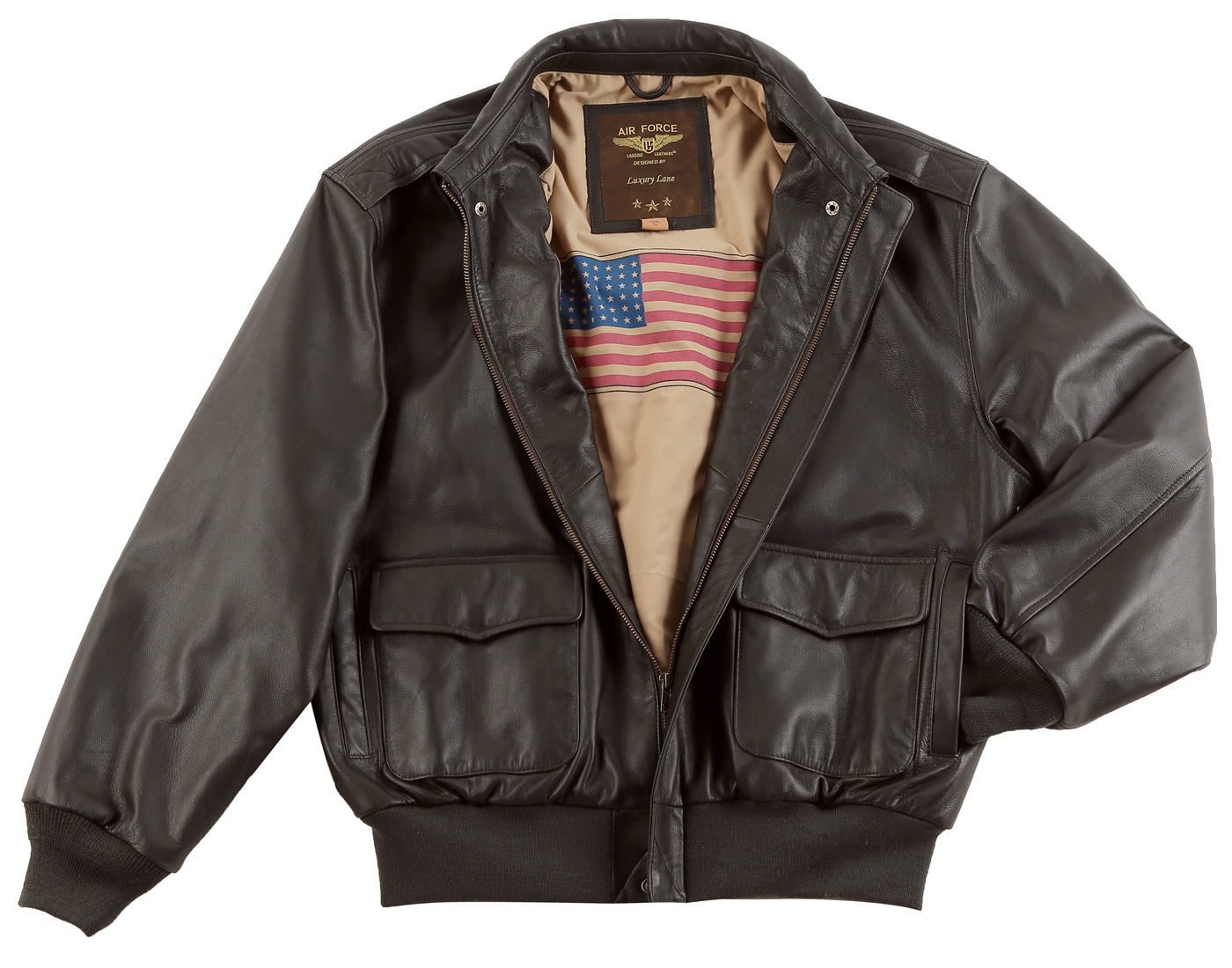 Landing Leathers Men's Monogram Collection Air Force A2 Leather Flight Bomber Jacket