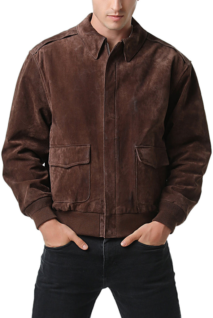 Landing Leathers Men's Air Force A2 Suede Leather Flight Bomber Jacket (A-2)