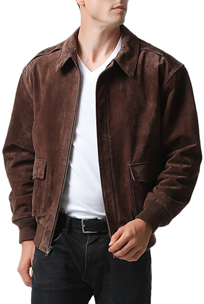 Landing Leathers Men's Air Force A2 Suede Leather Flight Bomber Jacket (A-2) - Tall