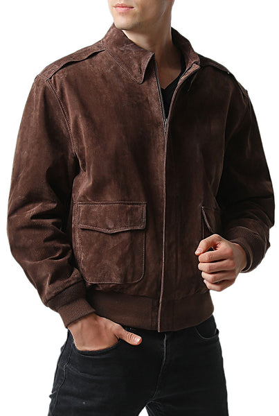 Landing Leathers Men's Air Force A-2 Suede Leather Flight Bomber Jacket
