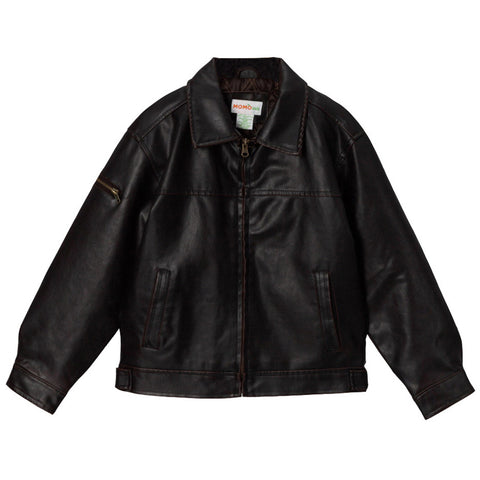 Momo Grow Big Boys Faux Leather Flight Bomber Jacket