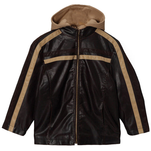 Momo Grow Big Boys Faux Leather Hooded Racer Jacket