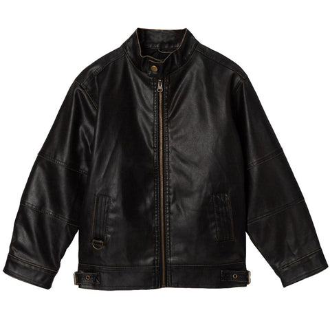 Momo Grow Big Boys Black Faux Leather Motorcycle Jacket