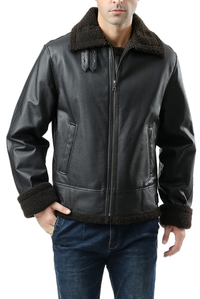 Landing Leathers Men's B-3 Sherpa Lined Leather Flight Bomber Jacket - Tall