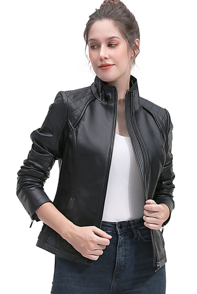 BGSD Women's New Zealand Lambskin Leather Jacket - Short