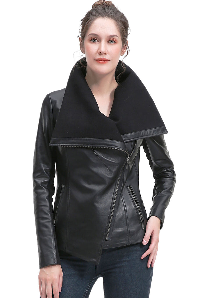 BGSD Women's New Zealand Lambskin Leather Jacket - Plus