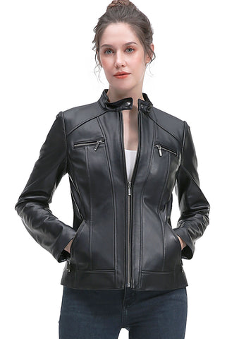 BGSD Women's Zip Front New Zealand Lambskin Leather Jacket