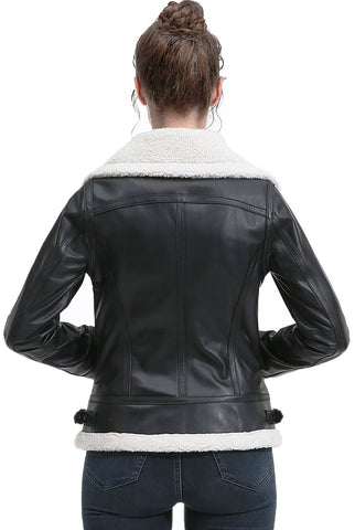 BGSD Women's New Zealand Lambskin Leather Jacket - Plus Short