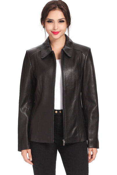 "BGSD Women's ""Miranda"" New Zealand Lambskin Leather Jacket - Plus"