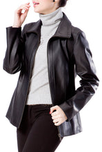 Load image into Gallery viewer, bgsd womens new zealand lambskin leather scuba jacket plus