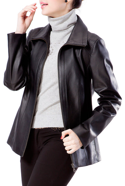 BGSD Women's New Zealand Lambskin Leather Scuba Jacket - Plus