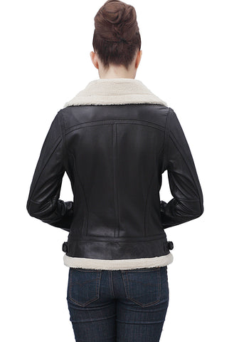 "BGSD Women's ""Brittany"" Faux Shearling Trim Lambskin Leather Jacket - Petite"