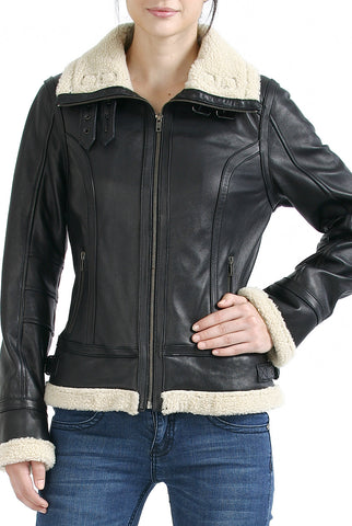 "BGSD Women's ""Brittany"" New Zealand Lambskin Leather Jacket - Plus Short"