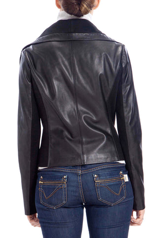 BGSD Women's Drape Neck New Zealand Lambskin Leather Jacket - Petite