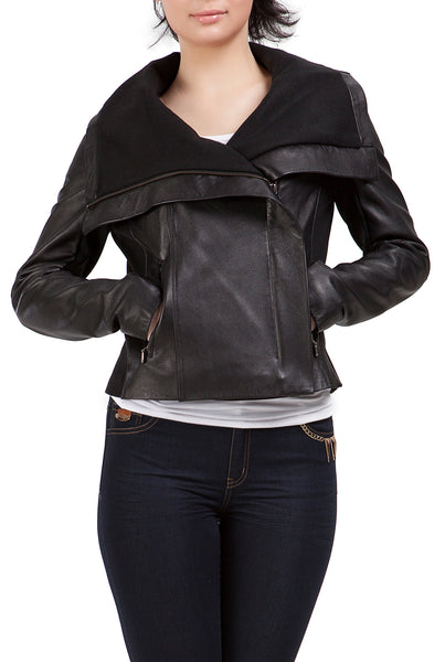 bgsd womens drape neck new zealand lambskin leather jacket
