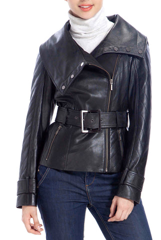 BGSD Women's Zip Front New Zealand Lambskin Leather Jacket - Petite