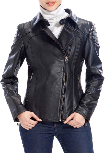 BGSD Women's Lambskin Leather Moto Biker Jacket - Plus