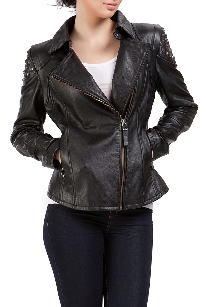 BGSD Women's Lambskin Leather Moto Biker Jacket - Petite