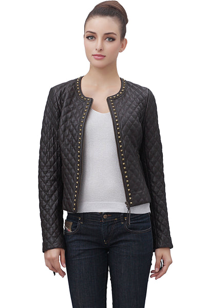 bgsd womens ryder quilted lambskin leather jacket