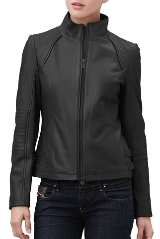"BGSD Women's ""Dakota"" Quilted Lambskin Leather Scuba Jacket - Plus"