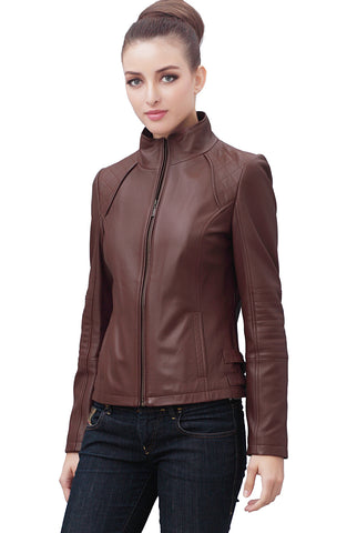 bgsd womens dakota quilted lambskin leather scuba jacket