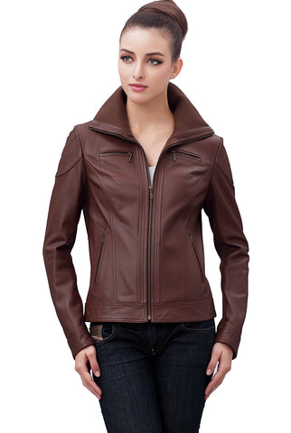 bgsd womens harper zip front lambskin leather jacket